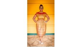 Midi-Length Herpburn Dress in Burgundy Ethnic Print