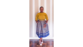 Ethnic Print Mid-Length Full Skirt with Pockets