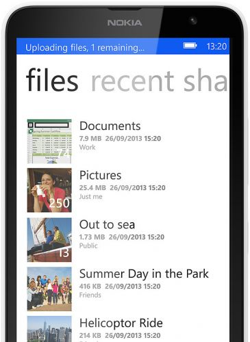 Lumia 1320 7GB free store space with SkyDrive