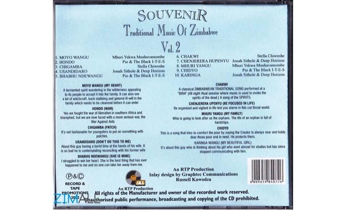 Souvenir Traditional Music Of Zimbabwe Vol 2 Music World Zimall