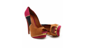 Colour Block Peep Toe Heels Insole Leather Pink