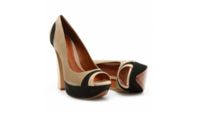 Colour Block Peep Toe Heels Insole Leather Black