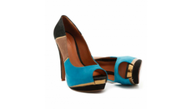 Colour Block Peep Toe Heels Insole Leather Blue