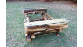 Pine Logs Glass Table