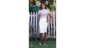 Cashmere Wool Suiting High Waist Pencil Skirt