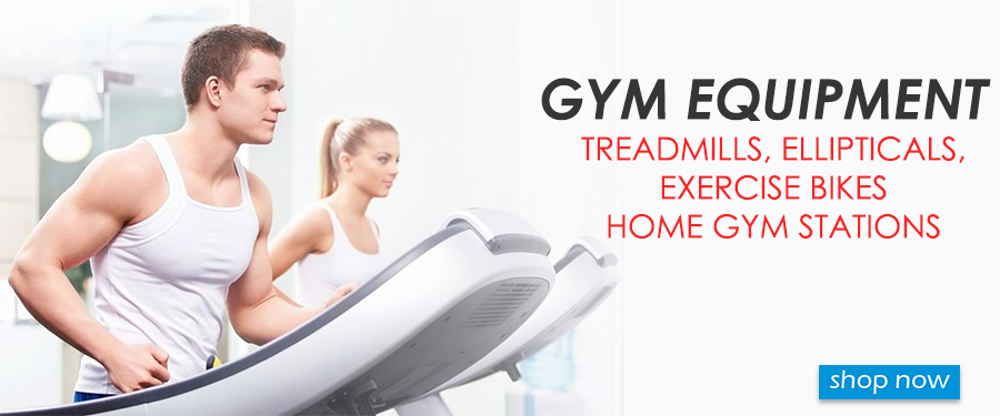 Home gym exercise and fitness equipment. Treadmills, exercise bikes, gym stations, ellipticals
